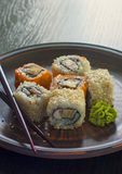 Rolls with chopsticks Royalty Free Stock Image