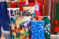 Rolls of Christmas wrapping Royalty Free Stock Photography