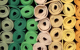 Rolls of cloth and felt for sale in the shop for amateur tailors. Big rolls of cloth and felt for sale in the shop for amateur tailors Royalty Free Stock Photo
