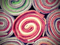 Rolls of cloth and felt in the shop with vintage effect Royalty Free Stock Image