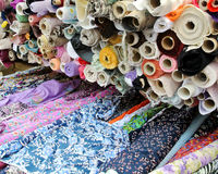 Rolls of cloth. For sale Stock Photography