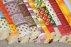 Rolls of colored fabric Royalty Free Stock Photography