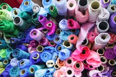 Rolls of colored fabrics royalty free stock photos