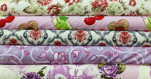 Rolls of colored fabrics Stock Photography