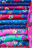 Rolls of colored fabrics Stock Photos