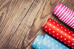 Rolls of colored wrapping paper Royalty Free Stock Photography