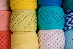 Rolls of colored yarn close-up stock photo