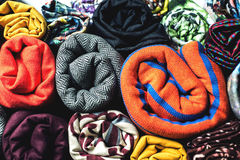 Rolls of colorful fabric as a vibrant background Stock Photography