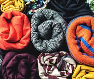 Rolls of colorful fabric as a vibrant background Royalty Free Stock Images