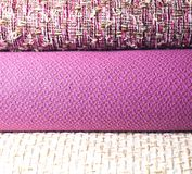 Rolls of colorful fabric as a vibrant background Royalty Free Stock Photography