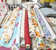 Rolls of colorful fabric Stock Photography