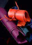 Rolls of Colorful Leather Stock Photos