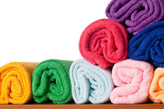 Rolls of colorful microfiber towels Royalty Free Stock Photos