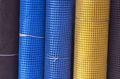 Rolls colorful plastic nets in asia market Royalty Free Stock Photos
