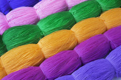 Rolls of colorful polyester rope. Close up Stock Images