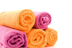 Rolls of colorful towels Stock Photography