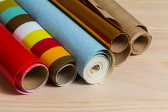 Rolls of colorful wrapping paper Royalty Free Stock Image
