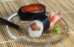 Rolls con el jengibre y el wasabi Foto de archivo libre de regalías