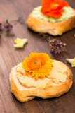 Rolls con il formaggio dell'agricoltore del pomodoro Fotografie Stock Libere da Diritti
