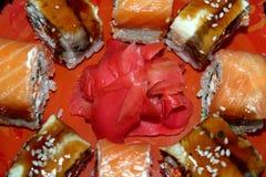 Rolls con il salmone e l'anguilla Fotografie Stock