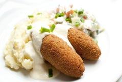 Rolls con le purè di patate e le verdure Fotografia Stock Libera da Diritti
