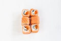 Rolls con los salmones y el caviar Fotos de archivo
