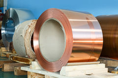 Rolls of copper foil in storage room Stock Photography