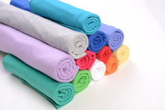 Rolls of cotton cloth with different color. Stock Photo