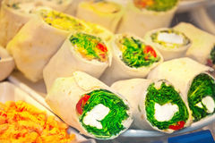 Rolls with cream cheeze and shrimp salad on fastfood counter. Rolls with cream cheeze and herbs and shrimp salad on fastfood counter in buffet Stock Photos