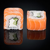 Rolls with cucumber, salmon and cream cheese Royalty Free Stock Photography