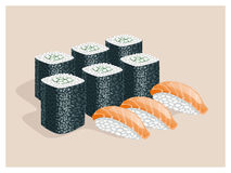 Rolls with cucumber and sushi with fish. Royalty Free Stock Images