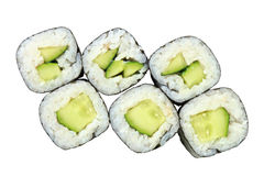 Rolls with cucumber top view Stock Photo
