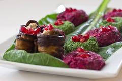 Rolls da beringela com um enchimento das nozes, petisco Georgian Fotografia de Stock