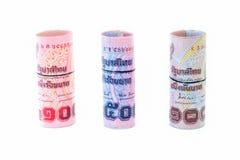 Rolls da moeda tailandesa do banco Fotos de Stock Royalty Free