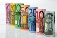 Rolls de billetes de banco euro Imagen de archivo libre de regalías