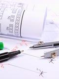 Rolls de diagramas y de accesorios eléctricos para dibujar Imagenes de archivo