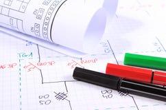 Rolls de diagramas y de accesorios eléctricos para dibujar Imagen de archivo libre de regalías