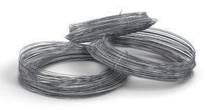 Rolls de fil en métal d'isolement sur le blanc Photo libre de droits