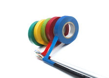 Rolls de la cinta del aislamiento de diversos colores Imágenes de archivo libres de regalías