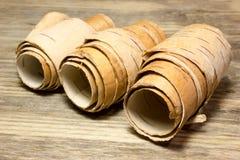 Rolls de la corteza de abedul Foto de archivo