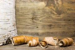 Rolls de la corteza de abedul Fotografía de archivo libre de regalías