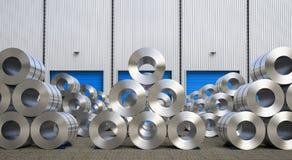 Rolls de la hoja de acero en almacén Fotografía de archivo libre de regalías