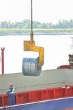 Rolls de la hoja de acero en el puerto Fotografía de archivo libre de regalías