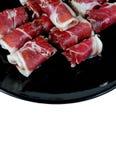 Rolls de la media placa del jamón Foto de archivo libre de regalías