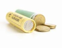 Rolls de monedas euro imagen de archivo libre de regalías