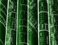 Rolls de planos dos modelos & da casa da arquitetura Fundo imagens de stock