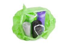 Rolls de sacos de lixo diferentes no aberto deles Foto de Stock Royalty Free