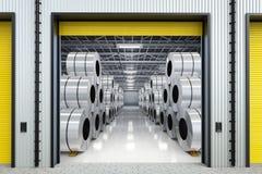 Rolls de tôle d'acier dans l'entrepôt Photos stock