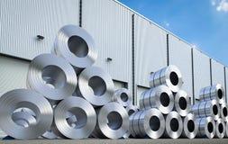 Rolls de tôle d'acier dans l'entrepôt Image stock