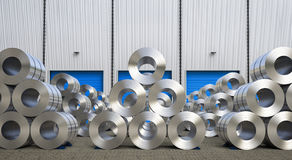 Rolls de tôle d'acier dans l'entrepôt Photographie stock libre de droits